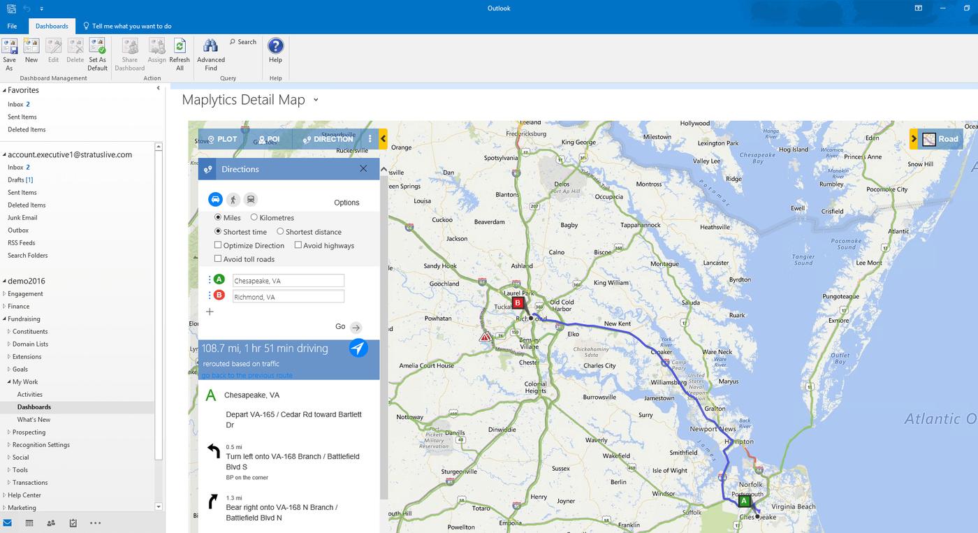 CRM-Erweiterung Maplytics Screenshot